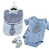 Baby Aspen Little Man Bundle of Bodysuit with Socks and Little Man Bibs