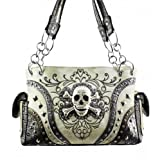 Beige Skull Studded Conceal and Carry Purse