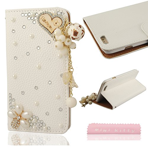 "Mini Kitty- High Quality Luxury Lovely Elegant Romantic 3D Bling Love Heart Crystal Rhinestone Pu Leather Flip Wallet Case Cover For Iphone 6 4.7"",As A Good Gift"