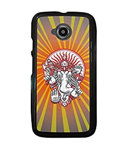 PRINTVISA Jai Shree Ganesh Premium Metallic Insert Back Case Cover for Motorola Moto E2 - D6110