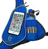 EMU SERVE (エムサーブ) ランニングポーチ ジョギングポーチ ランナー ポーチ バッグ ペットボトル ホルダー 付 iPhone 6 Plus スマホ 操作対応 イヤホンの専用穴付 2点固定式 2ポジション ランニング ショルダー タイプ