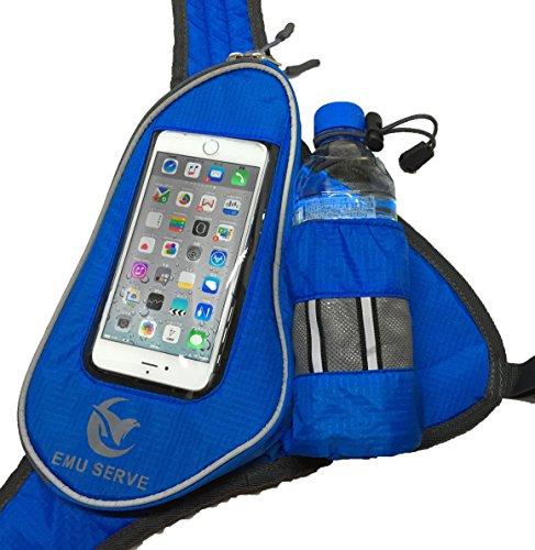 EMU SERVE (エムサーブ) ランニングポーチ ジョギングポーチ ランナー ポーチ バッグ ペットボトル ホルダー 付 iPhone 6 Plus スマホ 操作対応 イヤホンの専用穴付 2点固定式 2ポジション ランニング ショルダー タイプ ブルー