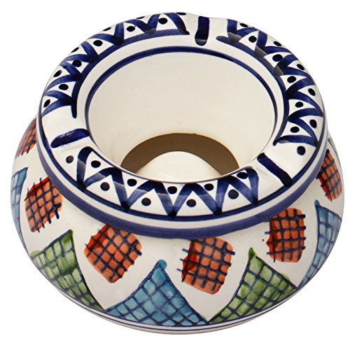 Moroccan Ashtray for Indoor Outdoor - Handmade Ash Tray in Ceramic Two-Piece in Safi Design Decorative Centerpiece for Home Office Table Patio Garden Décor from SouvNear