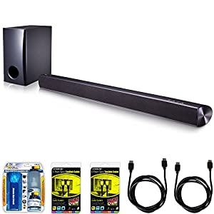 LG SH2 2.1ch 100W Sound Bar with Subwoofer and Bluetooth Connectivity Bundle includes Sound Bar with Subwoofer, Screen Cleaning Kit, 2 Toslink Cables and 2 HDMI Cables