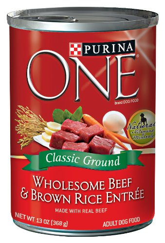 Purina One Classics Canned Dog Food, Beef Brown Rice, 13-Ounce (Pack of 12)