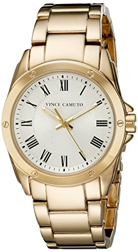 Vince Camuto para mujer reloj infantil de cuarzo con esfera analógica blanca y dorado correa de acero inoxidable de VC-5230SVGB