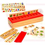 Toys of Wood Oxford Wooden Sorting Box with Sorting Lid - 99 pieces- 8 Categories Total 80 Objects
