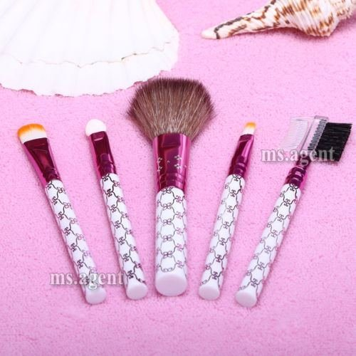 5pcs Makeup Brushes Set Eyeshadow Eyebrow Lip Blush Cosmetic Powder Brush Tools (W259m-25 fashion women travel kit jewelry organizer makeup cosmetic bag
