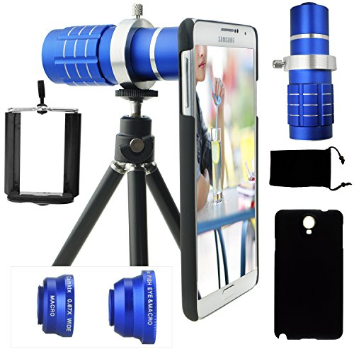 Samsung Galaxy Note 3 Camera Lens Kit Including A 12X Telephoto Lens / Fisheye Lens / Macro Lens / Wide Angle Lens / Mini Tripod / Universal Phone Holder / Telephoto Lens Holder Ring / Hard Case For Note 3 / Velvet Phone Bag / Camkix® Microfiber Cleaning