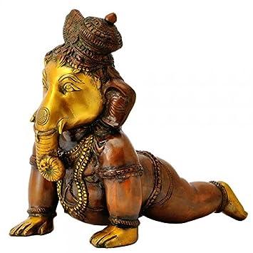 Gangesindia Crawling Baby Ganesha Brass Sculpture