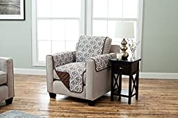 Luxe Collection Deluxe Reversible Quilted Furniture Protector. Beautiful Print on One Side / Solid Color on the Other for Two Fresh Looks. By Home Fashion Designs. (Chair, Chocolate)