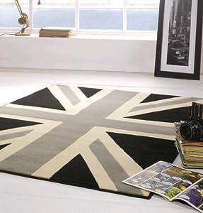 Union Jack Grey Cream and Black Rug 120cm x 160cm