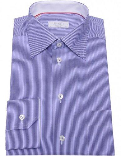Eton Men's Shirt Navy Striped Formal UK 18