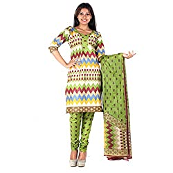 RangoliSF Woman's Cotton Unstitched Dress Material (RSFT1009 Green)