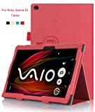 VSTN® Sony Xperia Z2 Tablet Stand PU Leather Cover Case with Hand Strap&Card Holder (For Sony Xperia Z2 Tablet, Red)