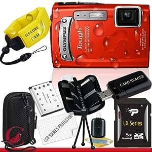 Olympus Tough TG-320 Digital Camera (Red) 8GB Package 1