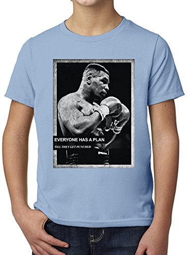 Mike Tyson Everyone Has A Plan Till They Get Punched Ultimate Youth Fashion T-Shirt by True Fans Apparel - 100% Organic, Hypoallergenic Cotton- Casual Wear- Unisex Design - Soft Material 9-11 years