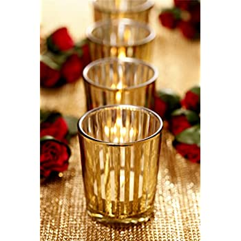 V-More Laser Cut Mercury Glass Votive Candle Holder Tealight Holder 2.55-inch Tall Set of 6 For Home Decor Wedding Party Celebration (Gold Stripe)