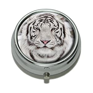 White Bengal Tiger with Blue Eyes Pill Case Trinket Gift Box