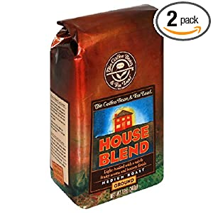 The Coffee Bean & Tea Leaf, Hand-Roasted House Blend Ground Coffee, 12-Ounce Bags (Pack of 2)