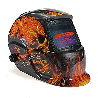 Urparcel Welding Helmet - Flames / Skull - Auto-Darkening - Solar/C.P.S by Urparcel
