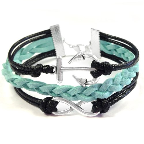 Vintage Leather and Rope Infinity Bracelet - Mint and Black Anchor Infinity