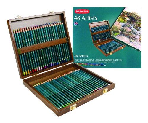 Derwent Artists Color Pencils, 4mm Core, Wooden Box, 48 Count (0700643)