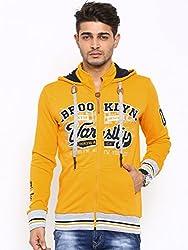Showoff Men's Full Sleeves Solid Yellow Casual Sweatshirt