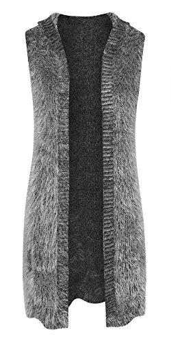 Women's Shaggy Faux Fur Hooded Sleeveless Cardigan Vest (Fur Trim Hood Vest compare prices)