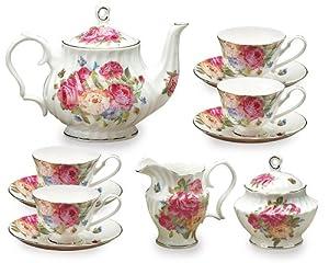Gracie Bone China 11-Piece Tea Set, Pink Sandra's Rose by Gracie Bone China Coastline Imports