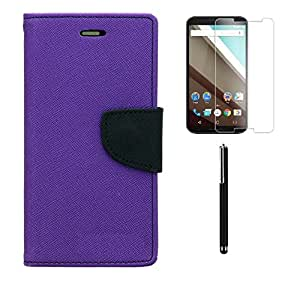 Relax&Shop Combo of Flip Cover For Nokia 520 - (Orchid Purple Flip+Tempered+Stylus)
