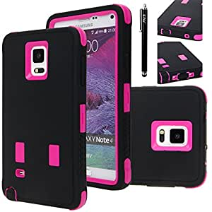 Note 4 Case, E LV Galaxy Note 4 Case Cover - Shock-Absorption / High Impact Resistant Full Body Hybrid Armor Protection Defender Case Cover for Samsung Galaxy Note 4 - BLACK / HOT PINK