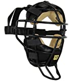 Wilson Dyna-Lite Steel Cage Two Tone Black and Leather Umpire's Facemask by Wilson