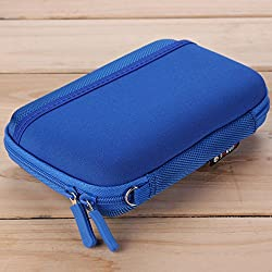 Digital USB Storage Cable Travel Earphone Organizer Bag Case Insert Flash Drives (Blue)
