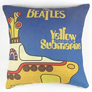 Yellow Submarines the Beatles Throw Pillow Case Sham Decor Cushion Covers Square 18*18 Inch Blue and Yellow Cotton Blend Linen by globaldeco
