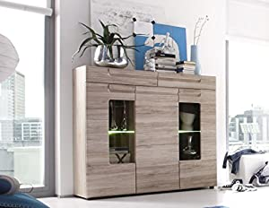 highboard sideboard kommode anrichte malea eiche san remo hell k che haushalt. Black Bedroom Furniture Sets. Home Design Ideas