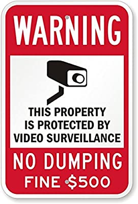 "SmartSign 3M Engineer Grade Reflective Sign, Legend ""Warning: Video Surveillance No Dumping Fine $500"" with Graphic, 18"" high x 12"" wide, Black/Red on White"
