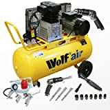 Wolf Dakota 90 Litre, 3HP, 14CFM, 240v, MWP 150psi, 10BAR Twin Cylinder Pump Belt Driven Air Compressor + Autoshop 2 Deal Includes 5 Piece Spray Kit and 3 Piece Air Tool Kit