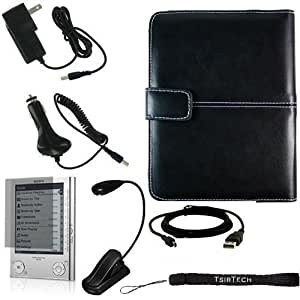 Ultimate Sony Reader eBook Touch Edition PRS-600 Bundle Pack- Black Leather Cover Case, eBook LED Light, USB 2in1 Data Cable, Car Charger, Wall Charger, and Screen Protector with 4-Inch TsirTech Hand Strap