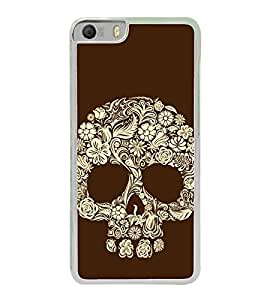 Flower and Leaves Skull 2D Hard Polycarbonate Designer Back Case Cover for Micromax Canvas Knight 2 E471