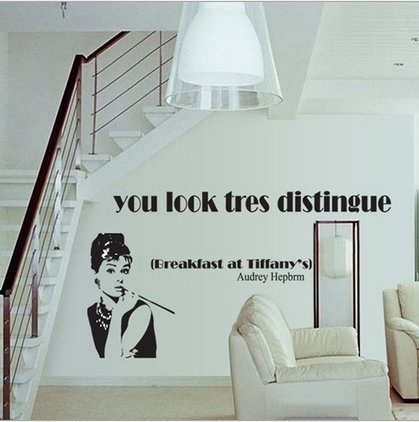 """Breakfast At Tiffany'S""Removable Living Room Television Background Environmental Pvc Wall Stickers front-766613"