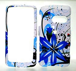 Blue White Flower Wave Snap on Hard Skin Shell Protector Cover Case for Lg Rumor Touch Ln510 + Microfiber Pouch Bag