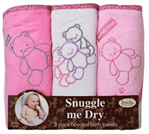 Frenchie Mini Couture Bear Hooded Towel Set, 3 Pack, Girl