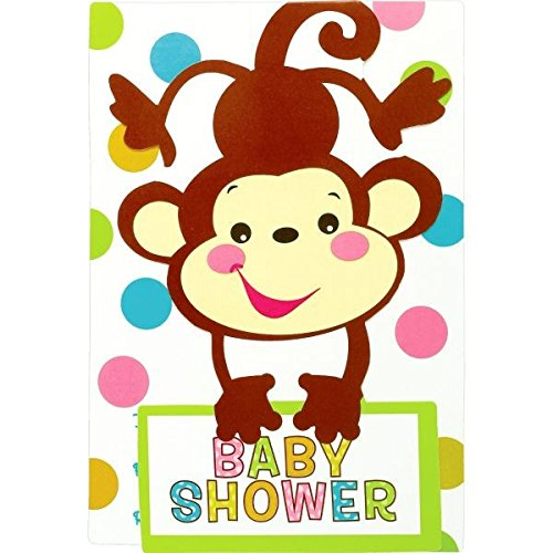 "Amscan Adorable Fisher Price Baby Shower Party Supply Folded Invitation, 3-7/8 x 5-5/9"", Brown/Yellow/Pink/Blue/White/Green"