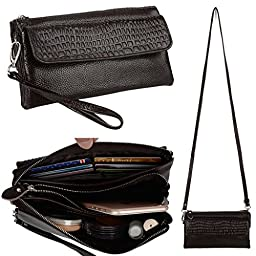 YALUXE Women\'s Large Capacity Leather Smartphone Wristlet Clutch with Shoulder Strap Coffee