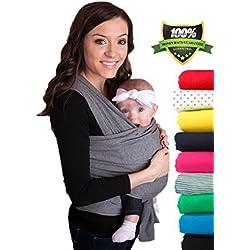CuddleBug Fular Portabebés - Garantía de Por Vida - Gris Portador de Bebé - Envío Gratuito- Todo Natural Portador de Bebé - Talla Única Baby Wrap - Fular Portabebés - Gris Baby Carrier - Garantía de 30 Días