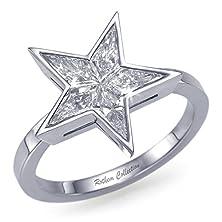 buy Sale! Stunning 0.52 Tcw Bezel Star Diamond Engagement Ring Kite Shape Diamonds & 14K Gold- Size 7