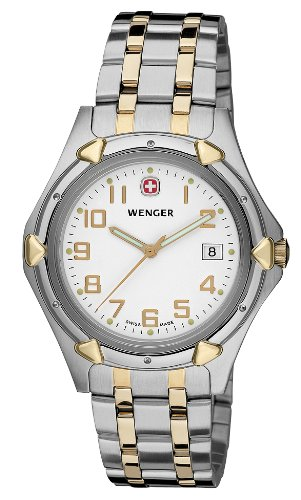Wenger Men'S 73116 Standard Issue Xl White Dial Two-Tone Bracelet Watch