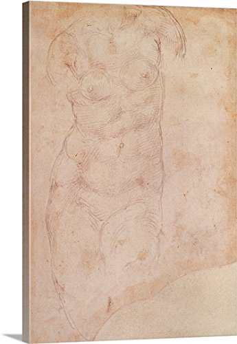 Study of a Female Nude (black chalk on paper) Gallery-Wrapped Canvas