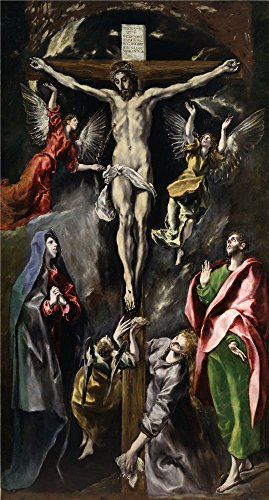 el-greco-the-crucifixion-1596-1600-oil-painting-30-x-56-inch-76-x-142-cm-printed-on-high-quality-pol